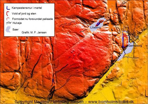 Gamleborg-Lilleborg, bornholmsoldtid.dk DHM-2007-Terræn(1,6 GRID)